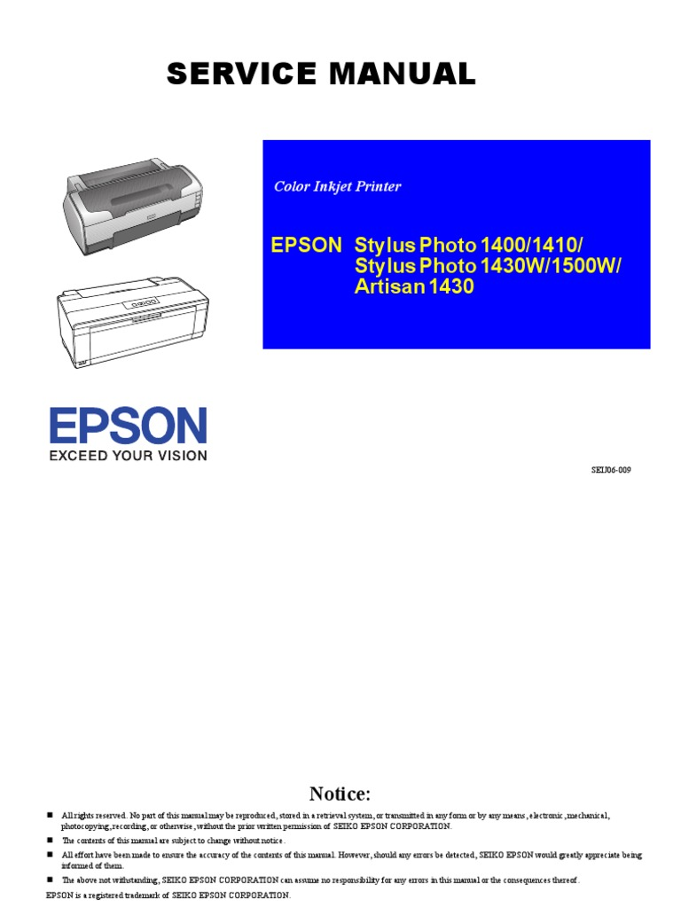 Service Manual Stylusphoto 1400 1410 1430w 1500w Artisan 1430