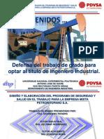 Diseno y Elaboracion Del Programa Seguridad y Salud Trabajo Empresa Mixta Petroritupano