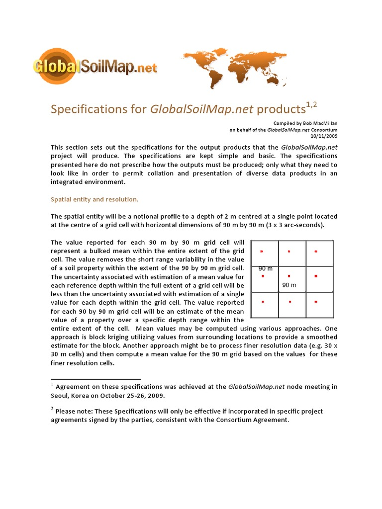 Globalsoilmap Specifications For Globalsoilmap Products