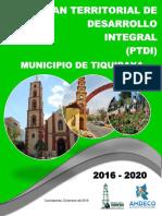 Plan Territorial de Desarrollo Integral Tiquipaya 2016 - 2020-Original