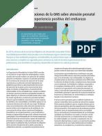 WHO Recomendaciones de la OMS sobre atención prenatal Spa