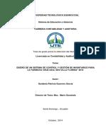 """Diseño de Un Sistema de Control y Gestión de Inventarios Para La Farmacia Cruz Azul Sdo Villa Florida"""" 2013"""