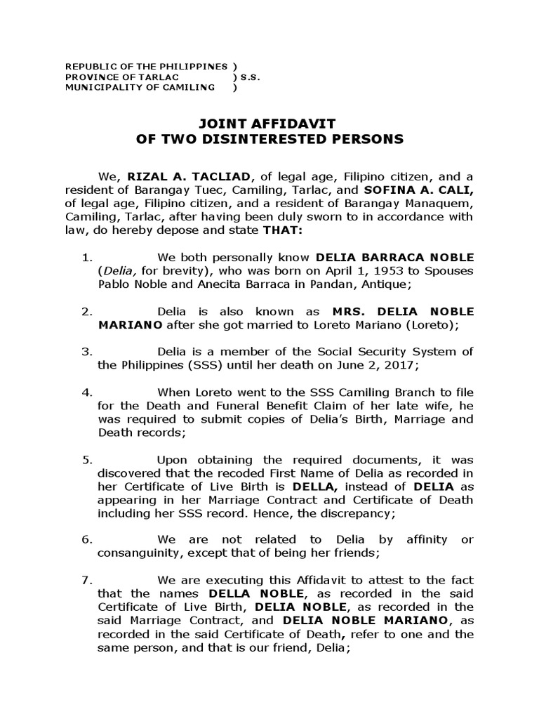 Joint Affidavit Delia First Name Affidavit Identity Document