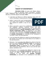 Affidavit of Discrepancy - Felipe (Name and Mother's Name)