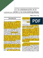 El Gobierno y La Administracion de La Ciudad de Mexico y Su Zona Metropolitana