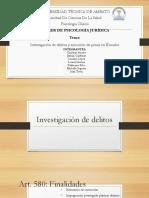 Investigacion en Delitos y Ejecucion de Pena