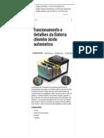Funcionamento Detalhes Bateria Chumbo Ácido Automotiva