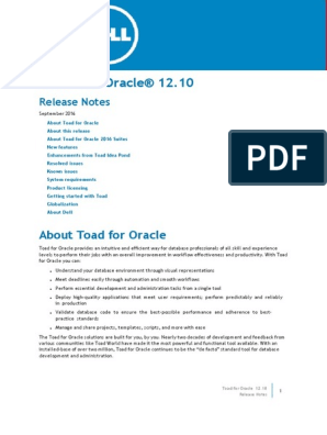 Toad for Oracle Release Notes 1210 | 64 Bit Computing