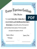 Teacher Experience Certificate