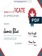 Sample of Certificates of Appreciation Template