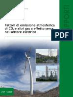 FATTORI DI EMISSIONE ATMOSFERICA DI CO2 E ALTRI GAS A EFFETTO SERRA NEL SETTORE ELETTRICO
