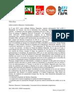 Lettre Ouverte Intersyndicale FIJ Ambassade de Turquie