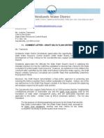 Westlands Letter to Water Board Draft Re Delta flow criteria
