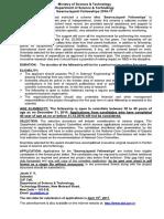 Advertisement Swarnajayanti Fellowships 2016 17