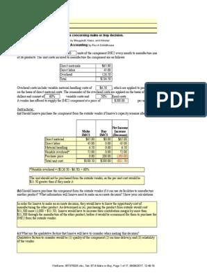 INCREMENTAL ANALYSIS xlsx | Revenue | Profit (Accounting)