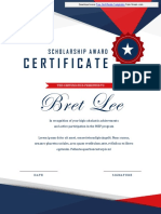 Scholarship Award Certificate