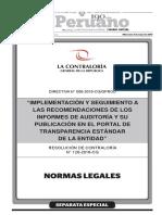 RC 120-2016 IMPLEMENTACIÓN Y SEGUIMIENTO a Recomendacion en Portal Transparencia