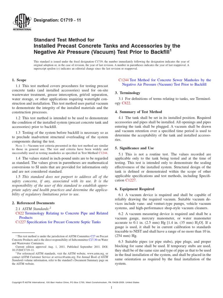 C1719-11 (Vacuum) Test Prior to Backfill | Pressure Measurement | Vacuum