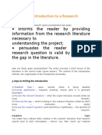 Writing the Introduction to a Research Report