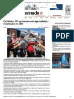 En México, 397 Agresiones Contra Periodistas y 8 Asesinatos en 2015 — La Jornada