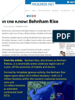 In the Know Benham Rise