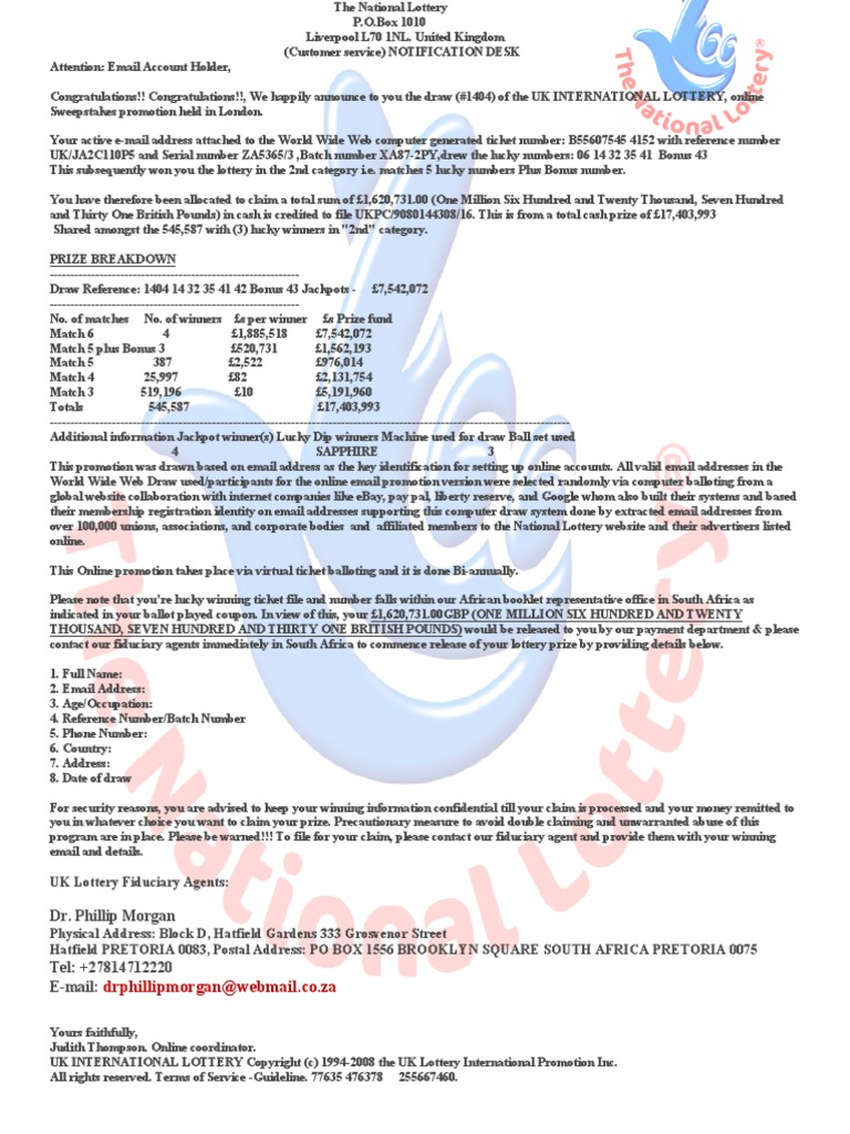 WINNING LOTTERY pdf | World Wide Web | Tecnología