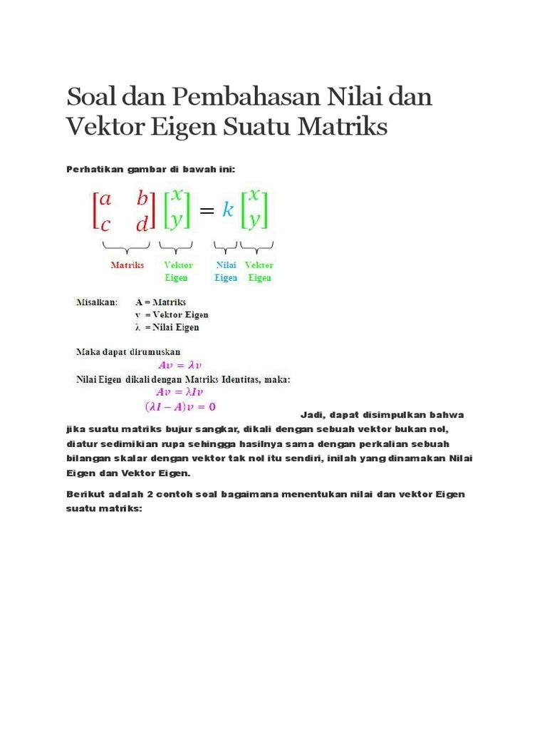Soal dan pembahasan nilai dan vektor eigen suatu ccuart Gallery