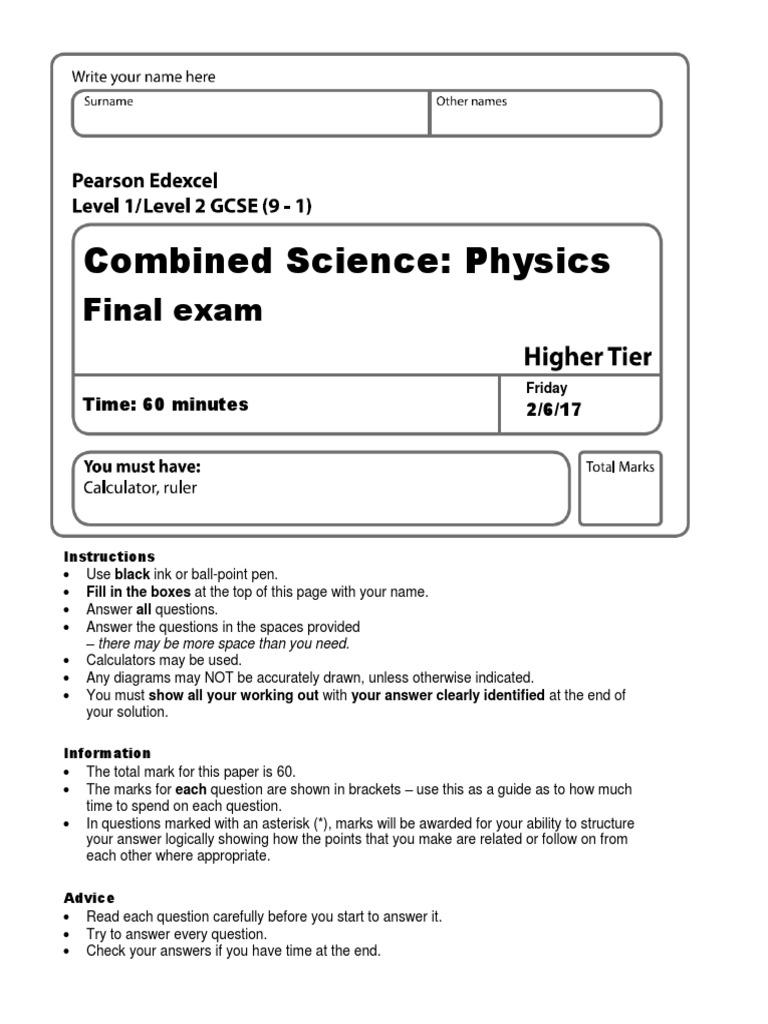 Pearson GCSE (9-1) Physics final exam 16_17 with mark scheme