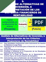 Análisis de Alternativas de Inversión, e Interpretación de Los Criterios Financieros de Rentabilidad