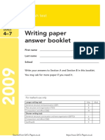 Ks3 English 2009 Writing Paper Answer Booklet
