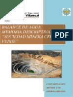 Cerro Verde Balance de Agua