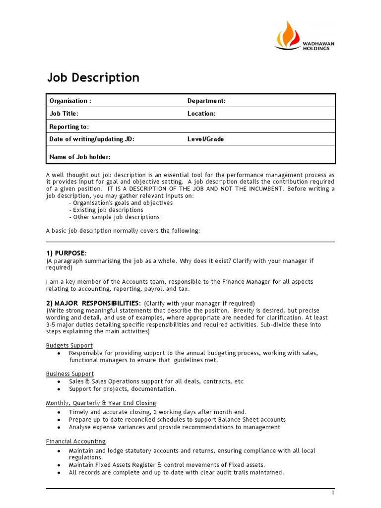 ic job description template competence human resources