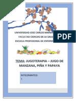 Trabajo de Jugoterapia - Jugo de Manzana, Piña y Papaya.