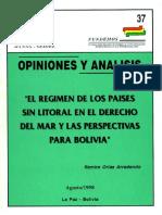 37 El Regimen de Los Paises Sin Litoral en El Erecho Del Mar y Las Perspectivas Para Bolivia