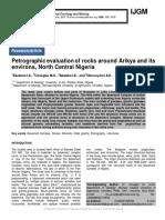 Petrographic evaluation of rocks around Arikya and its environs, North Central Nigeria