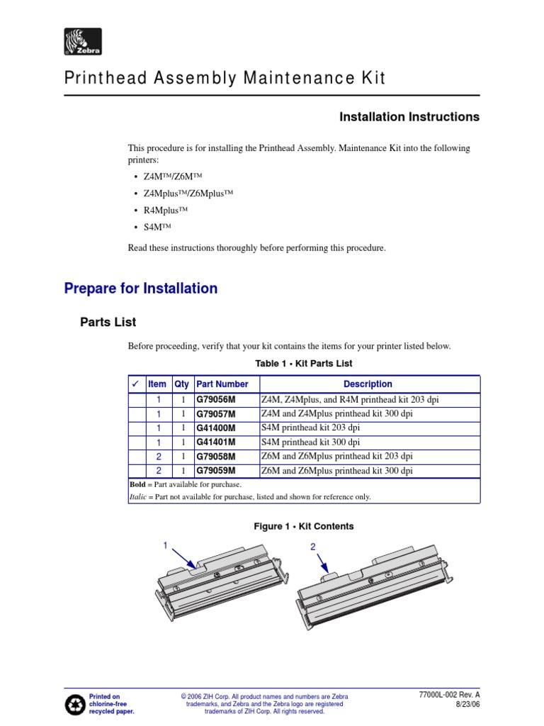 zebra z4m z6m printer service repair manual