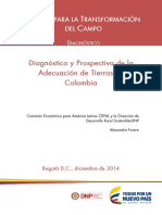 Diagnóstico y Prospectiva de La Adecuación de Tierras en Colombia