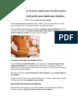 dieta para bajar de peso rapido para hombres