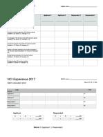 Judge's Scoresheet NCI Experience