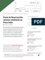 Fiesta de Resurrección_ Jóvenes celebrarán en Plaza Italia