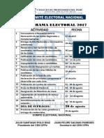 CRONOGRAMA ELECTORAL DEL CPPe 2017
