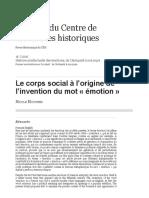Le corps social à l'origine de l'invention du mot «émotion»