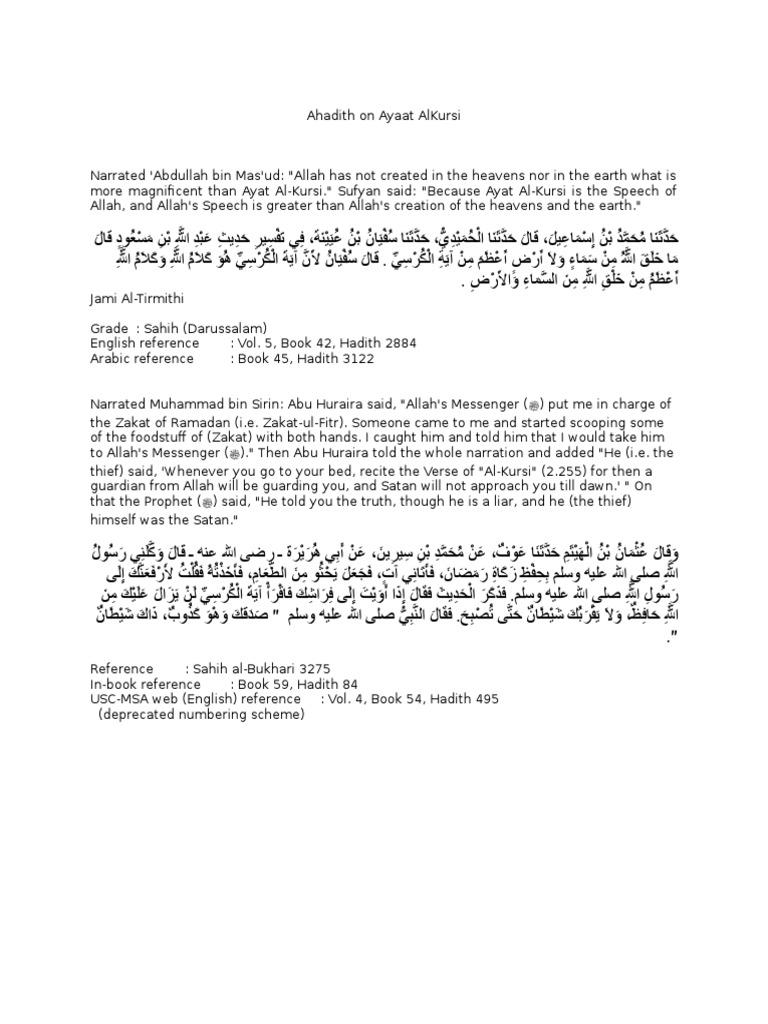Ahadith on Ayaat AlKursi | Hadith | Sharia