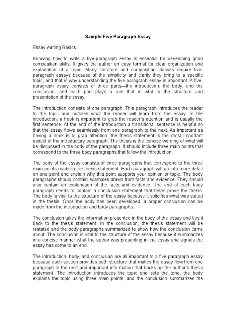 Sample Five Paragraph Essay  PDF  Paragraph  Essays