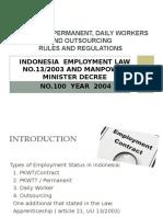 Pkwt Pkwtt Harian Lepas Outsourcing Presentation
