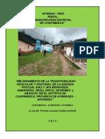 Pistas y Veredas de Chapimarca