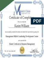 MasterClassManagement Certificate - Karim William