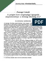 Pomogyi László - A Polgári Kori Szegényügyi Igazgatás Alapintézménye - A Községi Illetőség (I.)