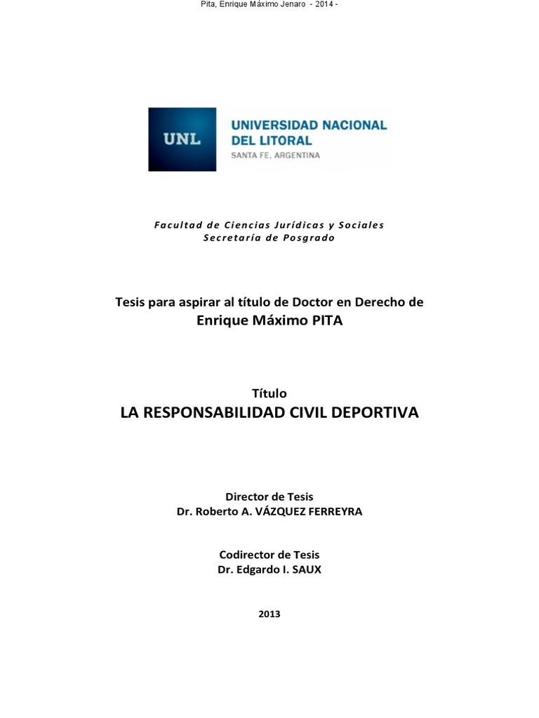 Piita La Responsabilidad Civil Deportiva