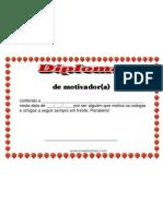 Diploma de motivador Certificado em pdf Gratis pronto para Imprimir